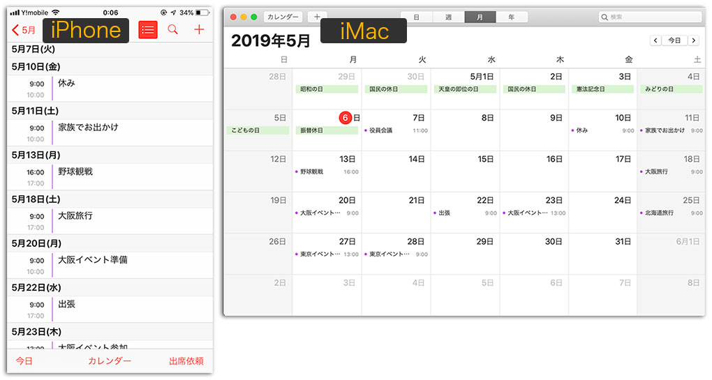 Apple製品 カレンダー共有