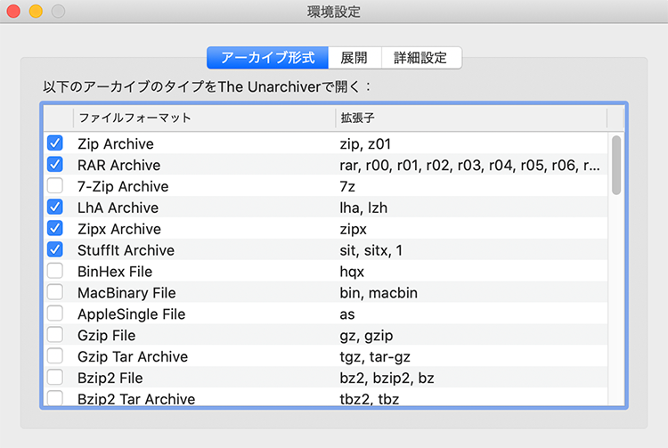 The Unarchiverのファイル形式設定